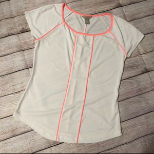 Banana Republic White Neon Orange Casual Top SZ S